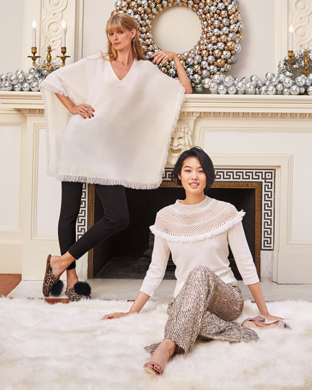 Image 2 of 3: Neiman Marcus Cashmere Collection Cashmere Fringe-Trim Poncho