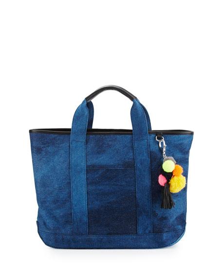 Rebecca Minkoff Sofia Canvas Pompom Tote Bag, Blue