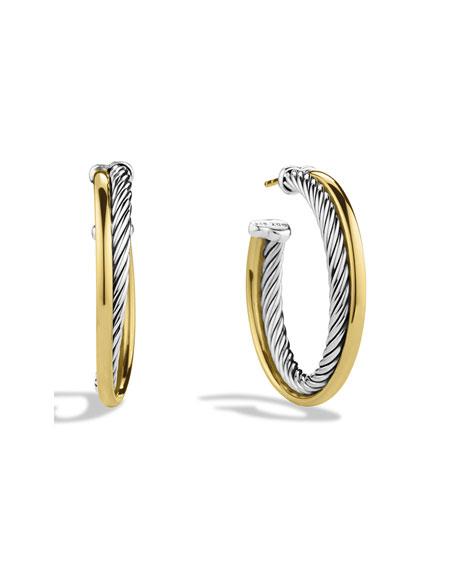 Crossover Medium Hoop Earrings with Gold