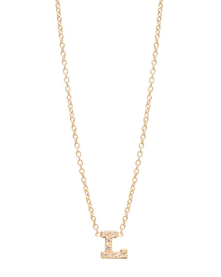 Pave Diamond Initial Pendant Necklace