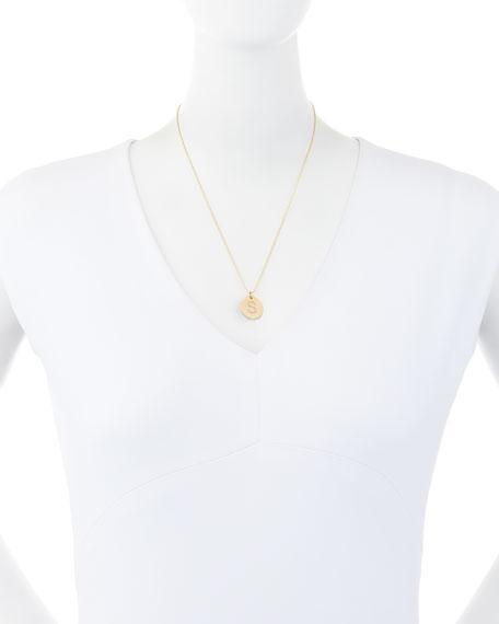 Pavé Diamond Initial Disc Pendant Necklace