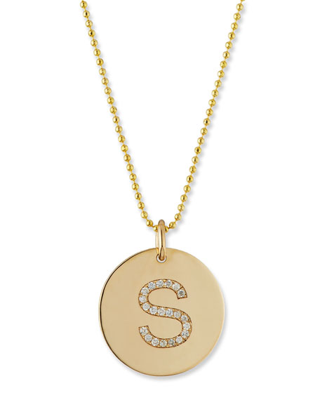 Pavé Diamond Initial Disc Pendant Necklace