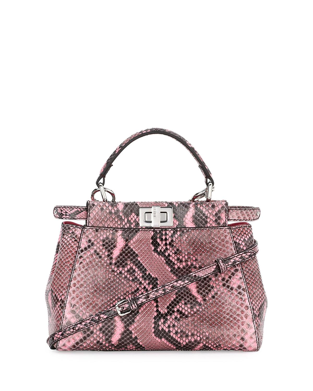a8de38d80578 Fendi Peekaboo Mini Python Satchel Bag