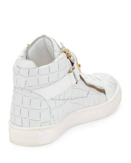 Kids' Unisex Aftering Crocodile-Embossed Leather High-Top Sneaker, Youth