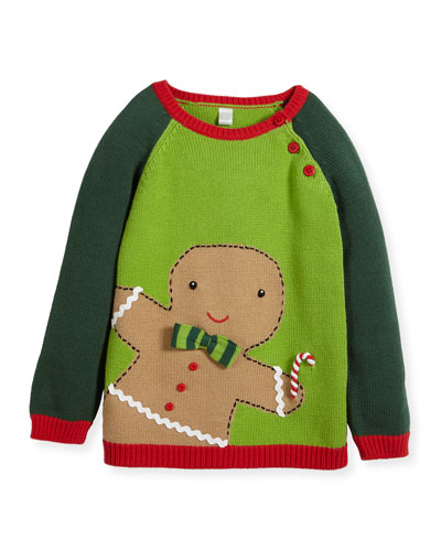 Boys' Knit Gingerman Sweater, Sizes 2T-10