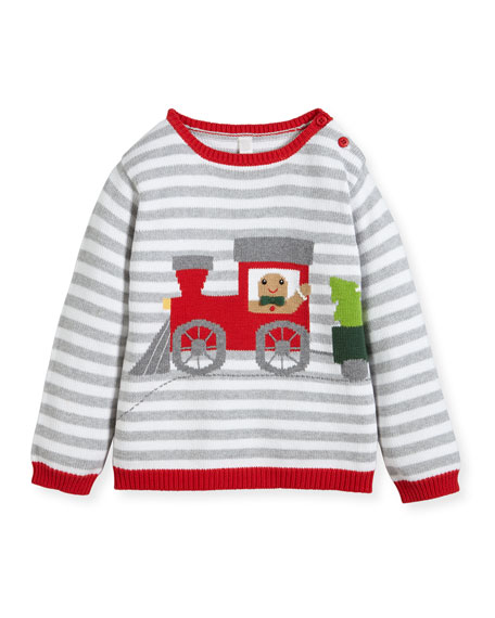 Zubels Boys' Gingerman Train Striped Knit Sweater, Sizes