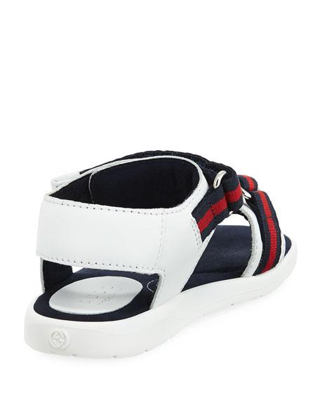 Leather Grip-Strap Sandal w/ Web Trim, Toddler Sizes 4-10