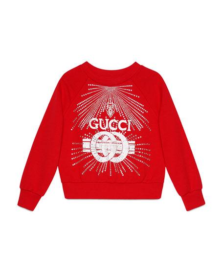Gucci Logo Buckle-Print Sweatshirt w/ Crystal Detail, Size