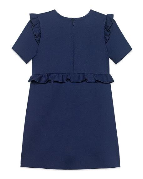 Gucci Jersey Stretch Ruffle-Trim Dress w/ Web Bows, Size 4-12
