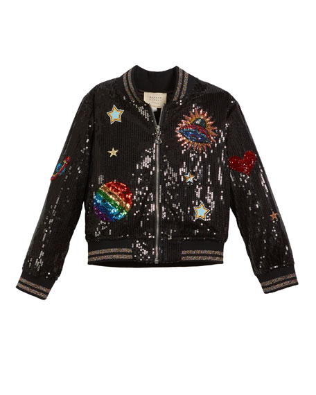 Hannah Banana Sequin Bomber Jacket w/ Space Patches,