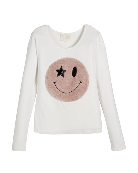 Long-Sleeve Top w/ Faux Fur Smiley Face, Size 7-14