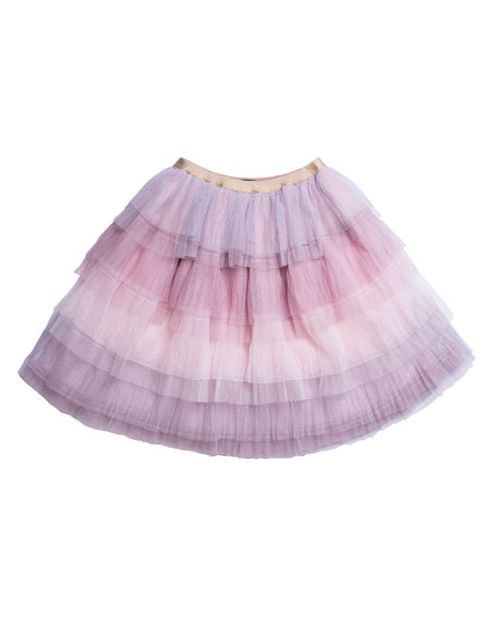 Imoga Tiered Ombre Mesh Skirt, Size 7-10