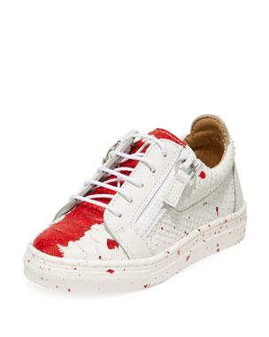 761b8fdd0e Giuseppe Zanotti Snake-Embossed Leather Paint Splatter Low-Top Sneakers,  Toddler