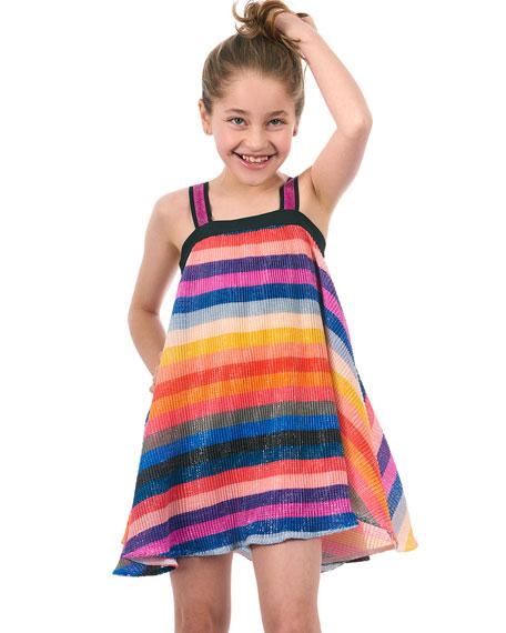 Hannah Banana Sequin Stripe Sleeveless Dress, Size 4-6