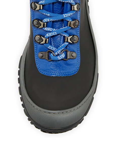 Image 3 of 4: Stefano Ricci Leather Logo-Laces Ski Boots, Kids