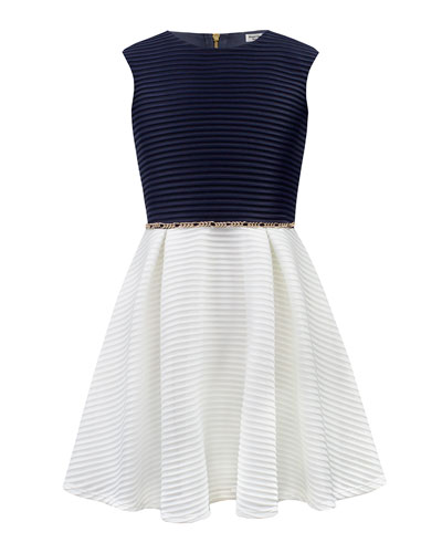 Two-Tone Ribbed Techno Dress  Size 8-16