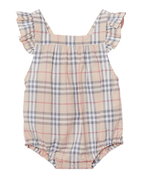 Burberry Washed Check Ruffle-Trim Bubble Romper, Size 3-18 Months