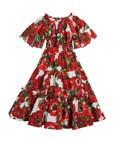 Rose-Print Tiered Short-Sleeve Dress  Size 4-6