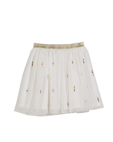 Velveteen Jemima Metallic Ribbon Tulle Skirt, Size 8-12