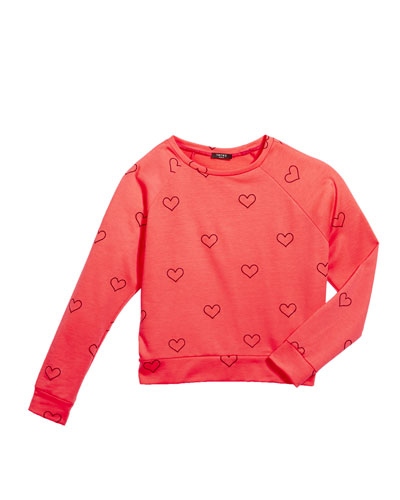 Outline Hearts Foil Print Sweatshirt  Size 7-16