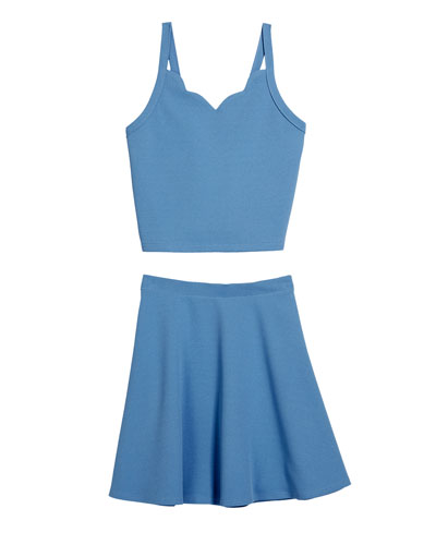 The Coco Techno Crepe Fit-and-Flare Top & Skirt Set  Size S-XL