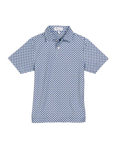 Peter Millar Stretch Jersey Motorcycle-Print Polo Shirt, Size XS-XL