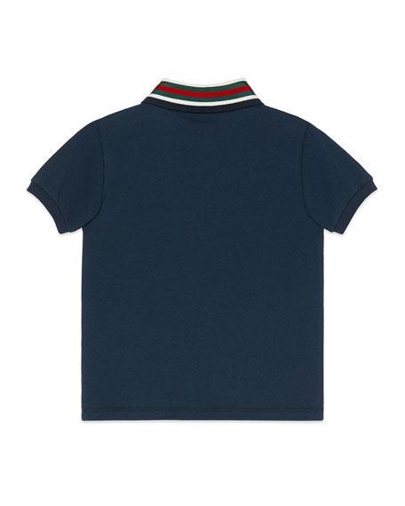Gucci Short-Sleeve Polo Shirt w/ Web Trim Collar, Size 4-12