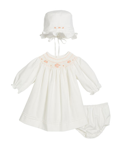 Luli & Me Long-Sleeve Bishop Dress w/ Bonnet & Bloomers, Size 3-12 Months