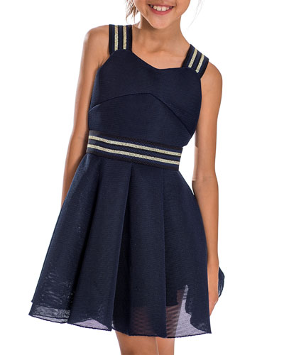 Hey Girl Swing Dress w/ Metallic Stripe Accents  Size 7-16