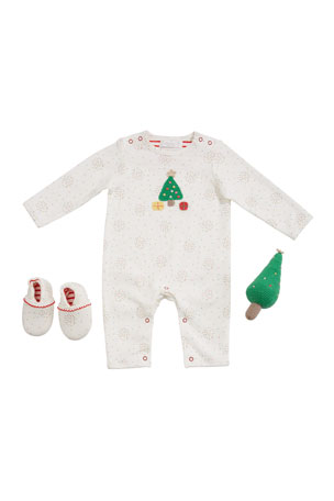 Albetta Christmas Tree Romper w/ Booties & Rattle, Size 0-9 Months