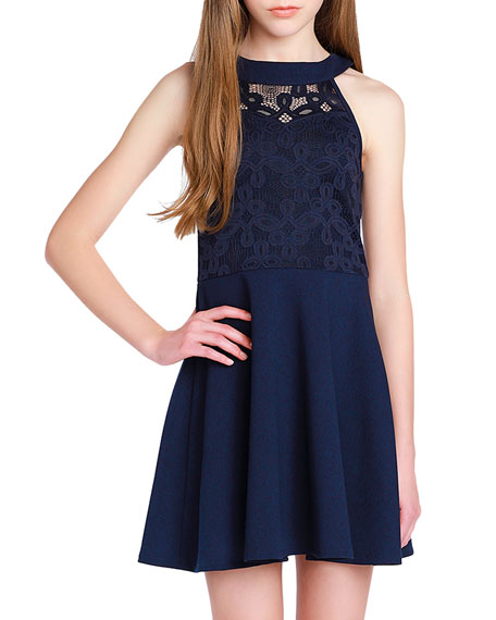 Sally Miller Girl's The Ava Techno Crepe Lace Halter Dress, Size S-XL