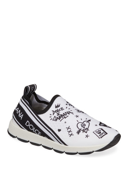 Dolce & Gabbana DG + NM Maglina Slip-On Knit Logo-Patch Sneakers, Kids