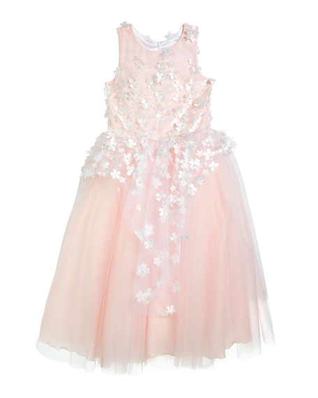 Image 3 of 3: White Label by Zoe Girl's Lauren 3D Flower Embellished Tulle Dress, Size 4-12