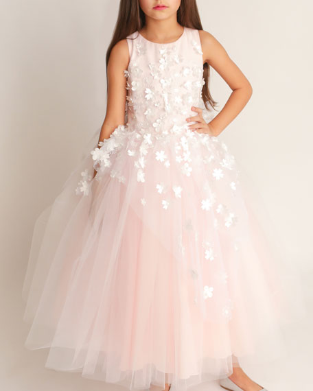 Image 1 of 3: White Label by Zoe Girl's Lauren 3D Flower Embellished Tulle Dress, Size 4-12