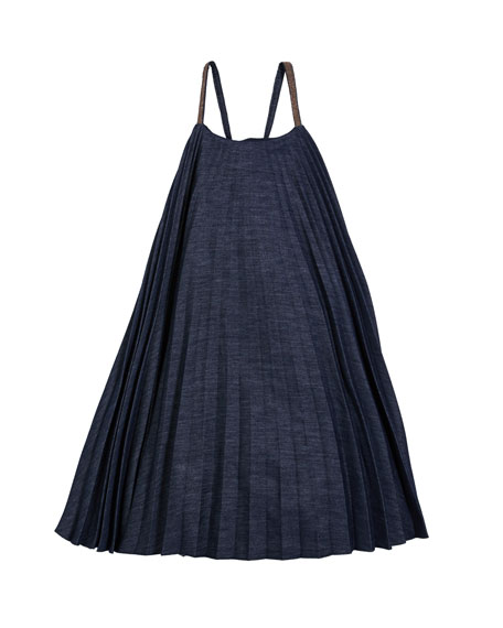 Image 1 of 5: Brunello Cucinelli Girl's Denim Plisse Dress with Monili Straps, Size 4-6