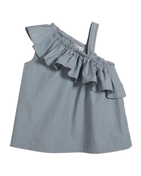 Brunello Cucinelli Girl's One-Shoulder Ruffle Top, Size 4-6