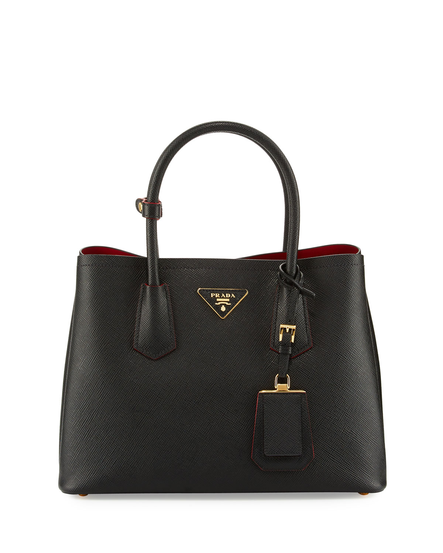 e1dc181ae477 Prada Saffiano Cuir Double Small Tote Bag | Neiman Marcus
