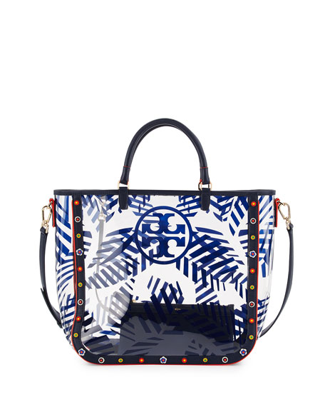 Tory Burch Marguerite Palm-Print PVC Tote Bag