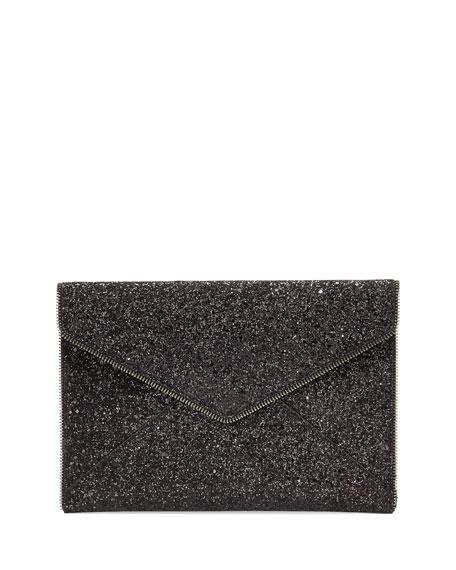Leo Glitter Clutch Bag, Black