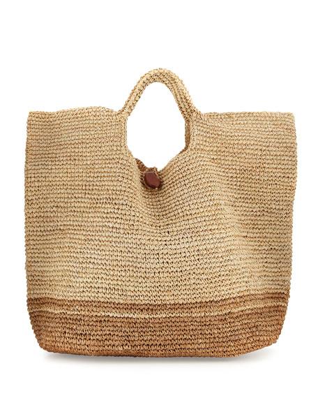 Tash Two-Tone Beach Tote Bag, Neutral