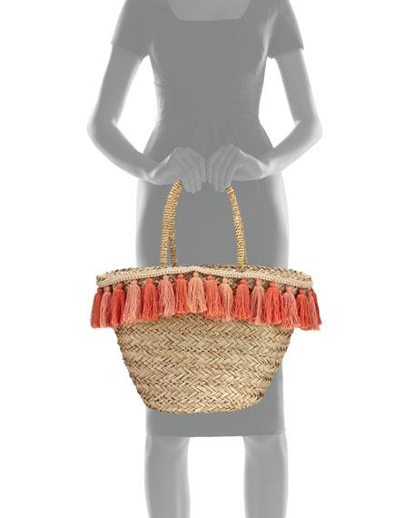 Wilmington Tassel-Trim Beach Tote Bag, Beige