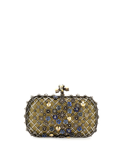 Metal Lattice Mini Knot Clutch Bag, Blue/Metallic