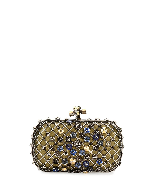 85c41706263c Bottega Veneta Metal Lattice Mini Knot Clutch Bag