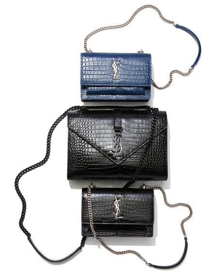 Saint Laurent Sunset Monogram YSL Small Crocodile Embossed Wallet on Chain