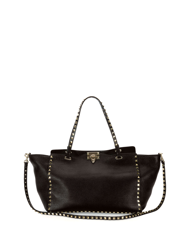 705e49c71715 Valentino Garavani Rockstud Grained Leather Medium Tote Bag