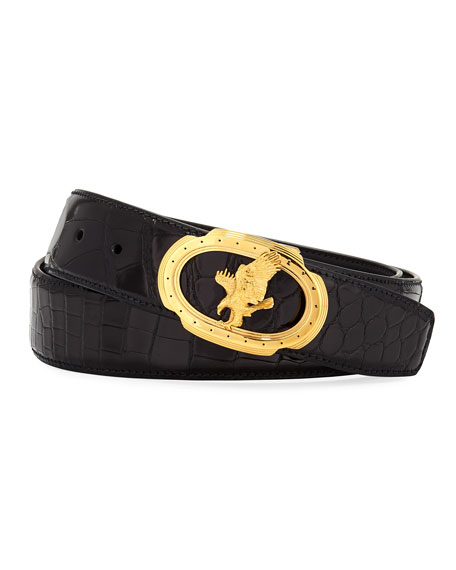 Stefano Ricci Eagle Crocodile Belt, Black