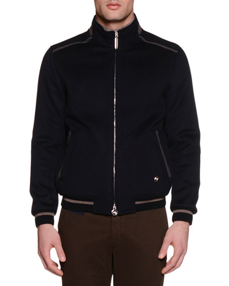 Zip-Up Cashmere Bomber Jacket, Navy