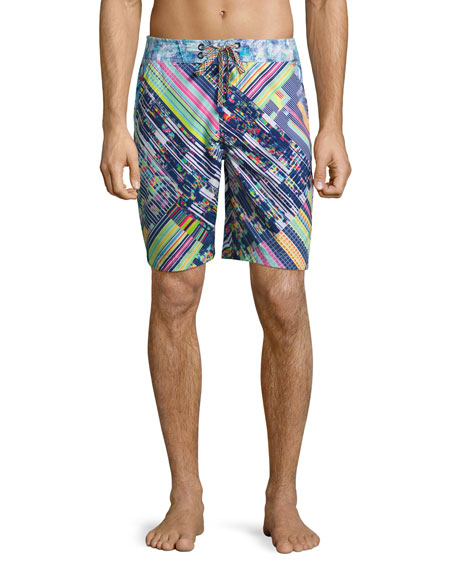 Universe Mixed-Print Long Swim Trunks, Multicolor