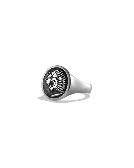 David Yurman Petrvs Lion Coin Signet Ring