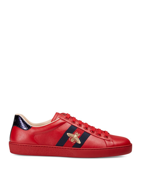 Gucci Men's New Ace Embroidered Low-Top Sneakers
